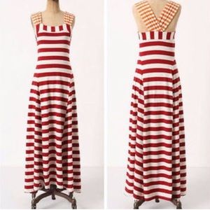 Anthropologie Red and White Maxi Dress